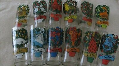 Vintage Pepsi -12 Days of Christmas Pepsi Glasses - Complete Set