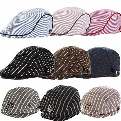 Kids Baby Infant Toddler Boy Girl Beret Cap Peaked Cotton Stripe Sun Hat Elastic
