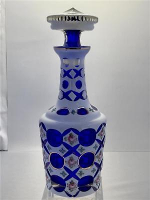 Antique Bohemian Cased Glass Cut to Cobalt Blue White Hand Painted Decanter
