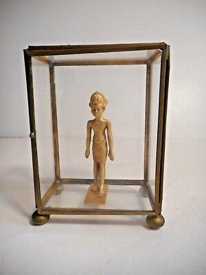 Gold Egyptian Figurine in Glass Display Box Souvenir Collectible