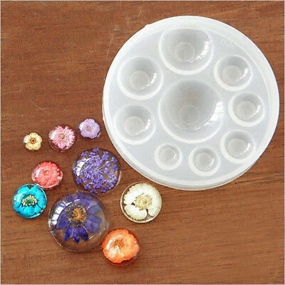 Silicone Pendant Mold Round Gem Resin Mould Eardrop Jewelry Making Craft DIY UK