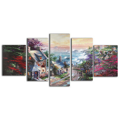 5Pcs Cityscapes Canvas Print Art Oil Painting Wall Picture Home Decor Unframed