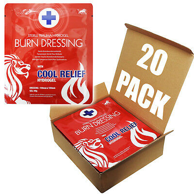Full Box, 20 Blue Lion 10cm x 10cm Cold Cool Burns Hydrogel Wound Dressing Pad