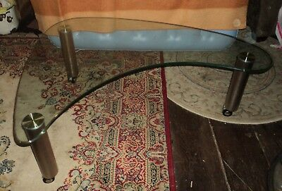Mid Century Hollywood Regency L Shape Chunky Glass Space Age Rolling End Table