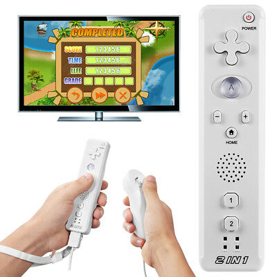 New 2 in1 Motion Plus Remote Control + Nunchuck Controller for Nintendo Wii Game