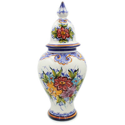Hand-painted Decorative Traditional Portuguese Ceramic Vase With Lid