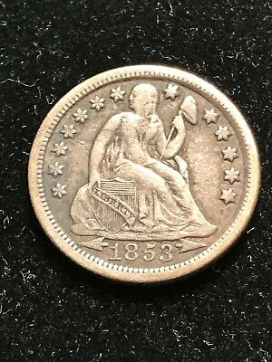 1853-O Arrows Seated Liberty Dime XF*KEY DATE*Low Mintage NOT CLEANED Original