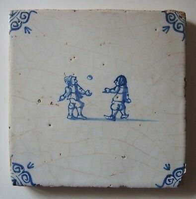 "17th Century DUTCH DELFT TILE CHILDREN'S GAME ""PLAYING WITH A BALL"""