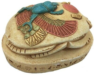 Scarab Beetle Paperweight Fits in Hand Carvings Hieroglyphs Good Size and Color
