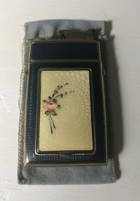 Vintage Bliss Floral Guilloche Enamel Flower Cigarette Case & Evans Lighter