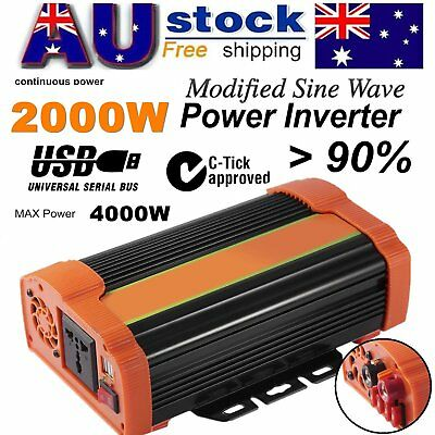 4000W Max Power Inverter DC 12V to 240V AC Dual 5V/2.1A USB Port Battery Charger