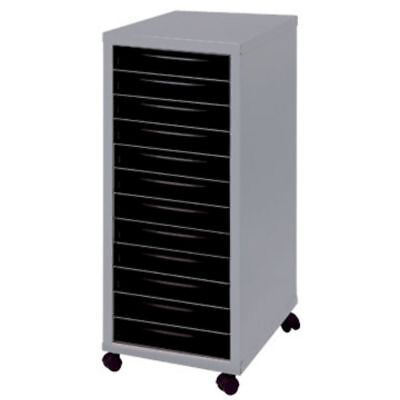 A4 12 Drawer Maxi Tall Filing Cabinet With Wheels Silver/Black - QUALITY STEEL
