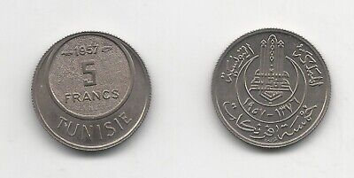 Tunisia 5 Francs 1957 Copper Nickel KM 277 Uncirculated