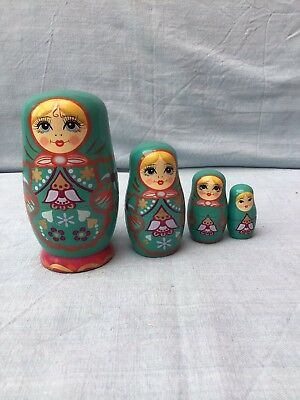 VINTAGE WOODEN RUSSIAN / IKEA 4 Nesting Ladies In Festive Costume