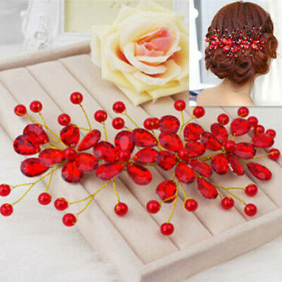 KE_ Women's Red Flower Wedding Bridal Party Accessary Hair Pin Clip Jewelry Sa