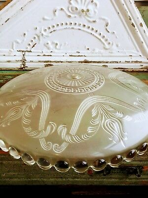 Vintage ART DECO Floral Clear Glass Ceiling Light Shade Candlewick trim