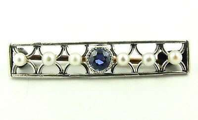 Natural .14ct Sapphire & Pearl Vintage Bar Pin 14k White Gold Brooch Small 1 1/8