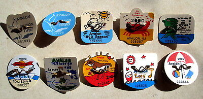 Lot of 10 Avalon NJ Beach Tags 1997-2006