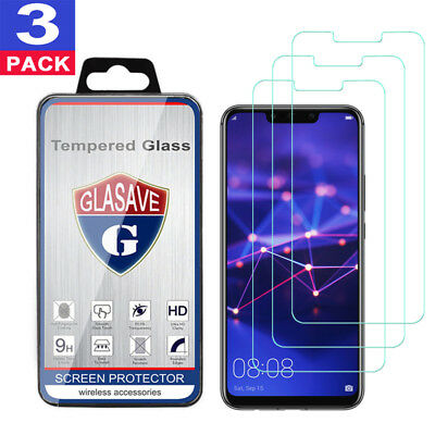 (3 Pack) GLASAVE HUAWEI Mate 20 lite Tempered Glass Screen Protector Film