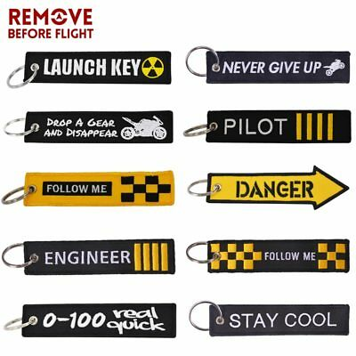 REMOVE BEFORE FLIGHT Novelty Keyring Launch Key Chain Key Tag Embroidery Key Fob