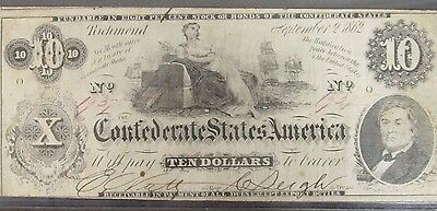 "1862 Confederate States $10 Note ""Enigmatic Issue"" Commerce Reclining CR-46"