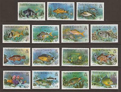 TURKS AND CAICOS ISLANDS 1978 SG514A/528A Fish Full Set of 15 MNH (WJ261)