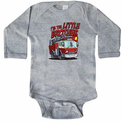 Inktastic Little Brother Fire Truck Long Sleeve Bodysuit Engine Im The