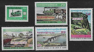 BURMA 1977  S.G. 272 - 276  Set-5  M.N.H. TRAINS