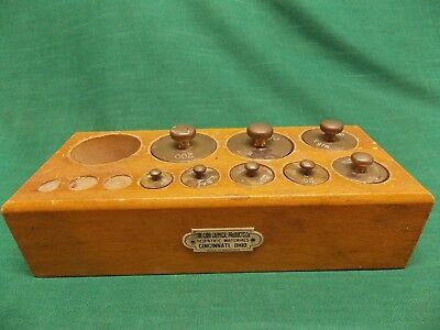 Vtg The Cino Chemical Products Co. Cincinnati OH brass scale weights wood holder