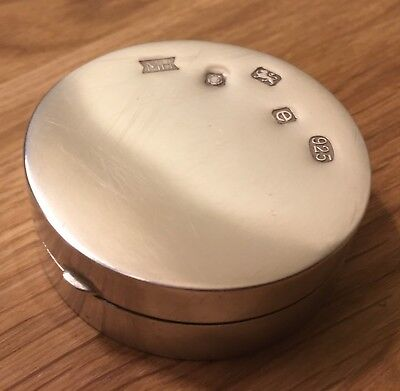 Large English Solid Silver Hallmarked Hinged Round Box - Superb