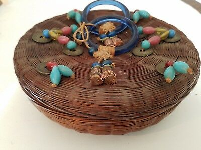 """8.5"""" Antique Chinese Wicker Sewing Basket Peking Glass Blue Rings, Beads Coins"""