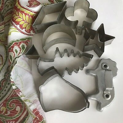 Vintage Cookie Cutters 8 Pieces Metal 1940s Christmas Shapes