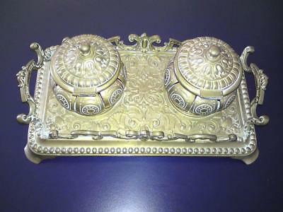 19th Century Antique Victorian Bronze Brass Double Inkwell