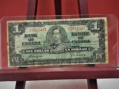 1937 BANK of CANADA,CANADIAN 1 DOLLAR BILL D/M 3851427 (CIRCULATED)