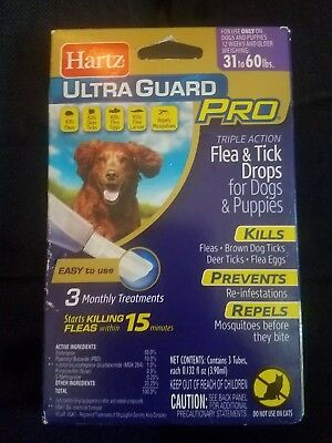 Hartz UltraGuard PRO LONG LASTING Flea & Tick Drops For Dogs & Puppies 31-60lbs