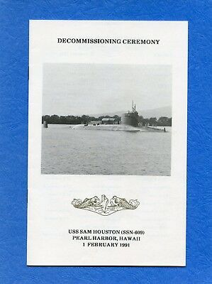 Submarine USS Sam Houston SSBN 609 Decommissioning Navy Ceremony Program