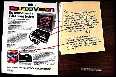1982 ColecoVision Arcade Video Game System Vintage PRINT AD Son Letter to Dad