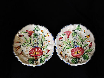 """Two Vintage Hand-painted Italian Ceramic 8"""" Plates Venice Floral 1950s-1960s"""
