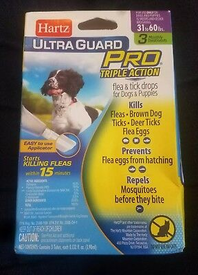 HARTZ UltraGuard Pro Triple Action Flea & Tick Drops for Dogs & Puppies 31-60lbs