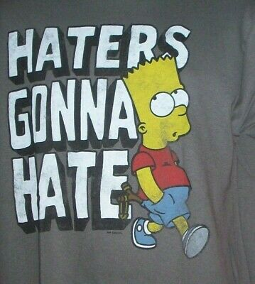 """Bart Simpson """"Haters Gonna Hate"""" Mens Adult Large Unisex T-Shirt - NOS"""
