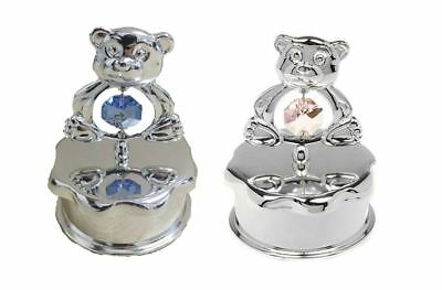 Teddy Bear Mirrored Keepsake New Baby Christening Trinket Jewellery Box
