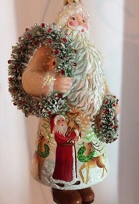 """Patricia Breen """"Wreathed"""" Creme, Santa holding a pair, accompanied by Reindeer"""