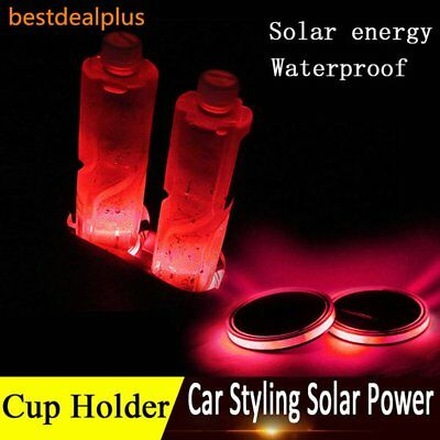 2x 68mm Solar Cup Pad Car accessories Red LED Cover Interior Decoration Lights U