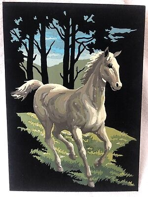 "Vintage Paint by Number Horse Painting on Black Velvet 14"" x 10"" Completed"