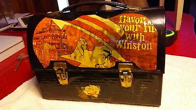Vintage Metal Domed Lid Lunch Box with old magazine clippings. No reserve
