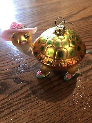 """Fancy Schmancy  """"Mrs. Turtle"""" Christmas Ornament With Rose Shoes & Hat~Lovely"""