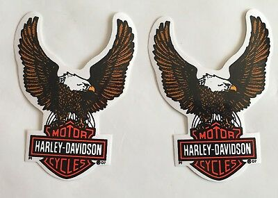 Harley-Davidson Decal Brown Eagle clutching Bar & shield window sticker set of 2