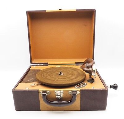 Old Antique Vintage Crank Portable 78 Phonograph Record Player As Is