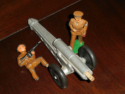 VINTAGE 1930S USA TOY WW1 CANNON and CAST METAL SOLDIERS