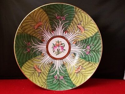 "Acf Japanese Porcelain Heavy Bowl  Decored In Hong Kong 8""d 3 1/4""h"